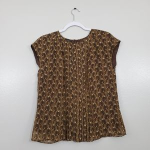 Talbots Petite Sheer Brown Feather Print To